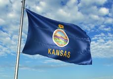 Kansas state of United States Flag waving with sky on background realistic 3d illustration vector illustration