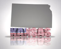 Kansas State. Word Kansas with National Flag of USA near map State Stock Photography