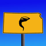 Kansas tornado warning sign Stock Photos