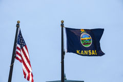 Kansas and US flagsc Royalty Free Stock Photo