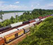 Kansas USA freight trains elevated view Stock Image