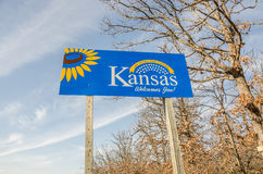 Kansas Welcome Sign Royalty Free Stock Photography
