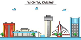 Kansas, Wichita.City skyline. Kansas, Wichita.City skyline: architecture buildings, streets silhouette, landscape panorama, landmarks. Editable strokes. Flat Stock Photo