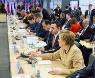 Kansler av Förbundsrepubliken Tyskland Angela Merkel Fotografering för Bildbyråer