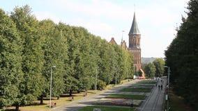 Kant大教堂在加里宁格勒,有无法认出的步行者的胡同 老中世纪城堡夏天大风天 影视素材