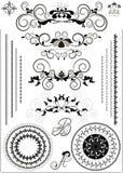 Kant av krusidullarna och calligraphybokstäverna stock illustrationer