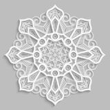 Kant 3D mandala, rond symmetrisch openwork patroon, decoratieve sneeuwvlok, Arabisch ornament, decoratief ontwerpelement royalty-vrije illustratie