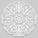 Kant 3D mandala, rond symmetrisch openwork patroon, kanten doily, decoratieve sneeuwvlok, Arabisch ornament, Indisch in reliëf ge vector illustratie