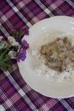 Kant-en-klare schotel - rijst met vlees in zure roomsaus stock afbeelding