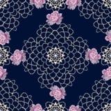 Kant kleurrijk bloemen naadloos patroon met de rozen van de borduurwerkhond Stock Afbeeldingen