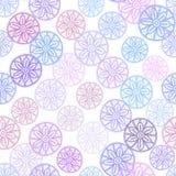 Kant naadloos patroon met lilac roze purpere blauwe bloemen op witte achtergrond Pastelkleuren, abstract art. Vector Royalty-vrije Stock Afbeelding