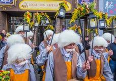 2017 Kant van Binche Carnaval Stock Foto