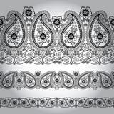 Kant van de de stoffen het naadloze grens van Paisley. Oosters motief Royalty-vrije Stock Afbeelding