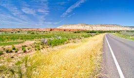 Kant van de weglandschap in Utah Stock Foto