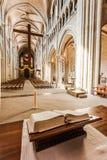 In kant van Notre-Dame-Kathedraal - Lausanne, Zwitserland Stock Afbeeldingen