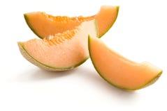 Kantaloep of Meloen die op wit wordt geïsoleerde Stock Foto