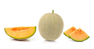 Kantaloepmeloen   op witte achtergrond Stock Afbeelding