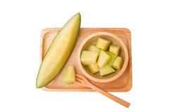 Kantaloepmeloenen met plakken klaar te eten Royalty-vrije Stock Afbeeldingen