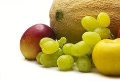 Kantalup, śliwka i inna owoc, zdjęcie stock