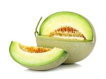 Kantalupa melon odizolowywający na białym tle Zdjęcia Stock
