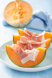 Kantalupa melon z prosciutto Włoska zakąska Obraz Stock