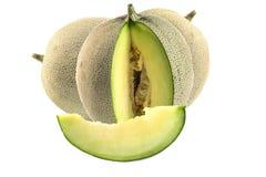 Kantalupa melonu plasterki odizolowywający na białym tle Zdjęcia Royalty Free