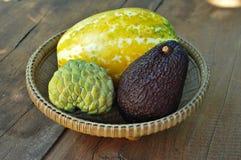 Kantalupe u. Avocado u. castard Apfel Lizenzfreies Stockfoto