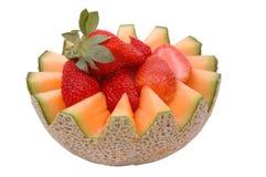 Kantalupe und Erdbeeren 2 Stockfotos