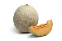 Kantalupemelone mit einer Scheibe Stockfotos