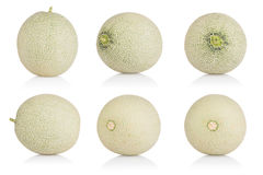 Kantalupen-Melonensammlung auf weißem Hintergrund Mit Beschneidungspfad Stockfoto