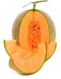 Kantalupenmelone lokalisiert auf weißem Hintergrund Lizenzfreies Stockbild