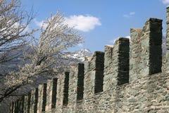Kantelen in Fenis-kasteel Royalty-vrije Stock Foto's