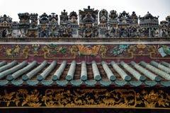 Kanten av det kinesiska forntida taket Arkivbilder