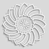 Kanten document doily, decoratieve bloem, decoratieve sneeuwvlok, kanten mandala, kantpatroon, Arabisch ornament Royalty-vrije Stock Fotografie