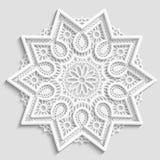 Kanten document doily, decoratieve bloem, decoratieve sneeuwvlok, kanten mandala, kantpatroon, Arabisch ornament Royalty-vrije Stock Afbeelding