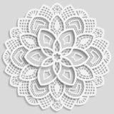 Kanten document doily, decoratieve bloem, decoratieve sneeuwvlok, kanten mandala, kantpatroon, Arabisch ornament, Indisch in reli vector illustratie