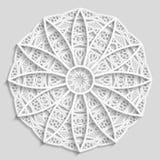 Kanten document doily, decoratieve bloem, decoratieve sneeuwvlok, mandala, in reliëf gemaakt patroon, Arabisch ornament Royalty-vrije Stock Fotografie