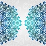 Kanten etnisch vectorfotokader Het abstracte bloemenornament van de grungecirkel Stock Fotografie