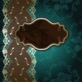 Kanten ontwerp met bruin etiket op donkergroen Stock Afbeeldingen