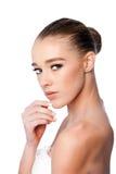 kanter för kvinnlig för skönhetframsida gör trendiga upp red Royaltyfria Foton