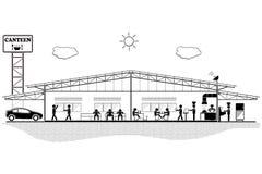 Kantinbyggnad, strukturavsnitt för kantin, vektorillustration Fotografering för Bildbyråer