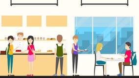 Kantine in school vector illustratie