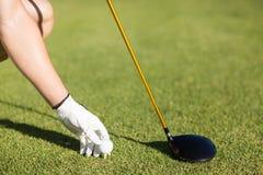 Kantjusterad bild av golfaremannen som förlägger golfboll på utslagsplats royaltyfri foto