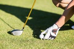 Kantjusterad bild av golfaren som förlägger golfboll på utslagsplats arkivbilder