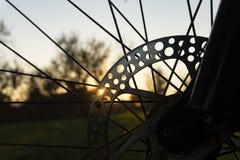 Kantjusterad sikt av eker på ett cykelhjul arkivfoton