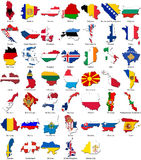 kantlandsEuropa flaggor ställde in världen royaltyfri foto