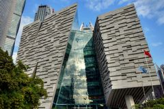"KANTON, CHINA € ""CIRCA JANUARI 2017: De nieuwe Guangzhou-Bibliotheek Stock Afbeeldingen"