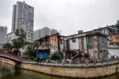 Kanton dokąd nowożytny spotyka starzejącego się miasto zdjęcie royalty free