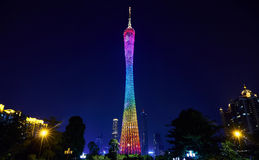 Kanton nocy basztowy widok w Guangzhou mieście Chiny fotografia stock