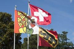 Kantonschweizareflaggor Royaltyfria Bilder